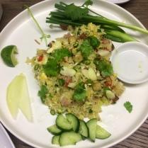 Sour sausage crispy rice salad